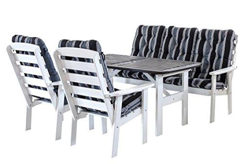 Ambientehome 90318 7-teilig Garten Sitzgruppe Essgruppe Loungegruppe Gartenmöbel Essgarnitur Hanko Maxi, weiß mit Kissen, schwarz / grau