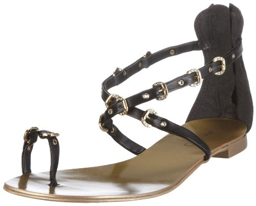 Via Uno Leather.NP Roma 21013603, Flip flop donna Nero