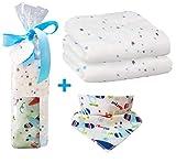Muselina de bambú para bebes de tamaño grande 120x120 cm y un babero bandana en algodón | Especial pack regalo para bebés | El Arrullo mas suave de muselina para envolver a tu bebe