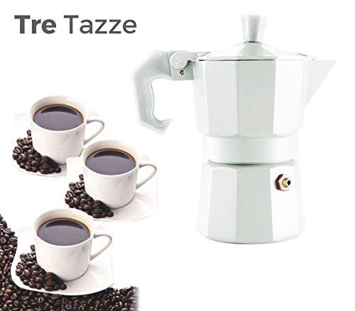 Caffettiera COLORS FUN moka 3 tazze classica WELKHOME caffè espresso fatto in casa manico gommato. MEDIA WAVE store (Bianco)