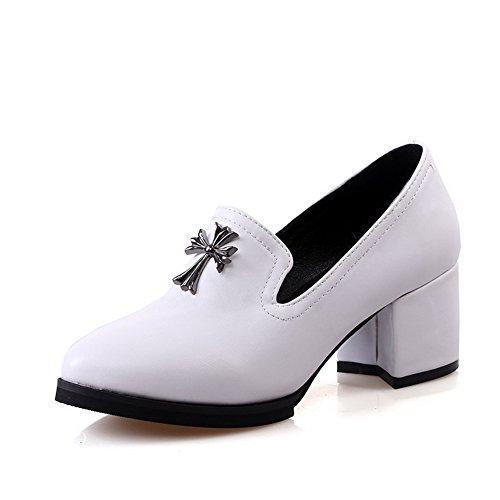 AllhqFashion Damen Pu Rein Ziehen Auf Rund Schließen Zehe Mittler Absatz Pumps Schuhe Weiß