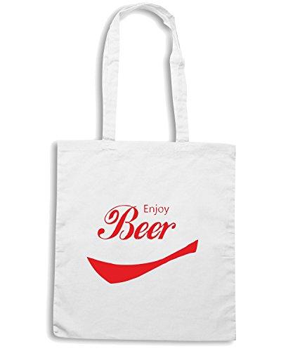 T-Shirtshock - Borsa Shopping BEER0055 Enjoy Beer Bianco