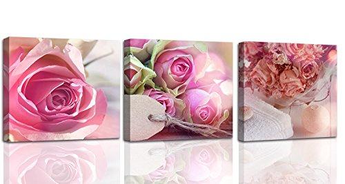 Feeby. Leinwandbild - 3 Teile - Bilder, Wand Bild, Wandbilder, Kunstdruck, 3-Teilig, 90x30 cm, ROSEN, NATUR, ROSA - Bild Rosen Rosa