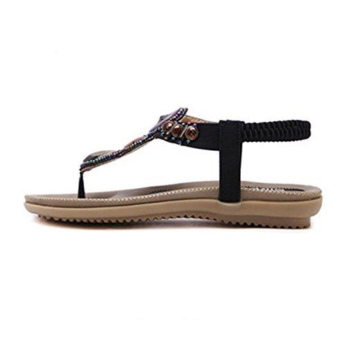 YOUJIA Femmes Tongs Sandales Bohême élégant Perlé Slippers Strass Été Chaussures de Plage Noir