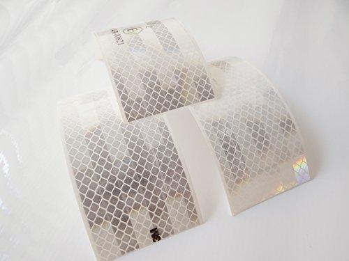 Set 3M Diamond Grade Scotchlite Reflexfolie Leuchtfolie Reflektoren weiß - 3x 15,0 cm x 5,5 cm