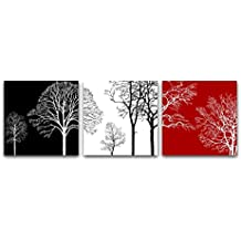 Wieco Art – Colorful Tree Modern 3 panels Modern Giclee canvas Prints Contemporary Artwork Flower PICTURES photo dipinto su tela Wall Art for home office Decorations Wall Decor P3RAB005 _ F1