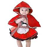 OwlFay Baby Kostüm Kleinkinder Kinder Mädchen Rotkäppchen Kostüm Kleid + Kapuzenumhang 2-TLG Outfits Märchen Kostüme Halloween Cosplay Partykleid Karneval Faschingskostüm Babykleidung 2-3 Jahre