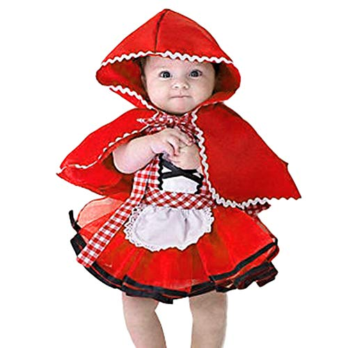 OBEEII Rotkäppchen Kostüm Kinder Little Red Riding Hood Prinzessin Kleid Mädchen Grimms Märchen Verkleidung Faschingskostüm Karneval Cosplay Party Halloween Festkleid 6-12 - Red Riding Hood Kostüm Baby