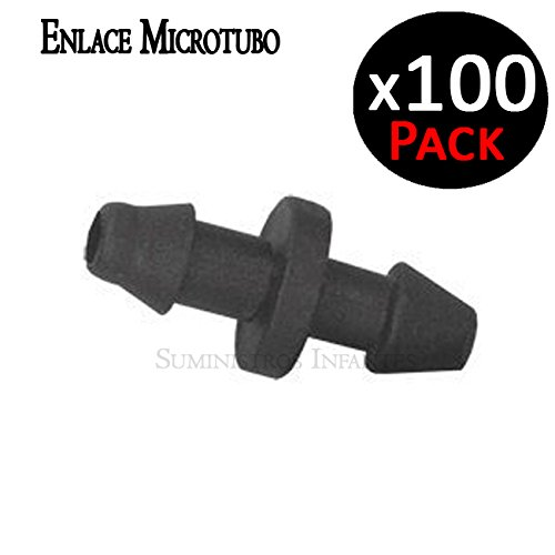 Enlace microtubo 4,5mm. Enlace recto para unir microtubo de 3 x 5 mm. Color negro. Accesorio utilizado en riego por goteo. Bolsa de 100 enlaces de microtubo.