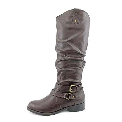White Mountain Lioness Rund Kunstleder Mode-Knie hoch Stiefel Brown