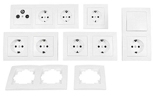MANAX® Schalter und Steckdosen Set Arbeitszimmer Büro 17-teilig weiß