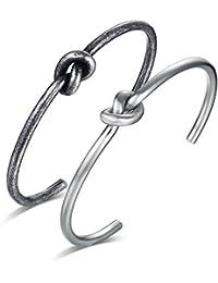 Vnox 2 piezas de acero inoxidable nudo céltico amor delgado abrazadera brazalete apretado pulsera para hombres mujeres