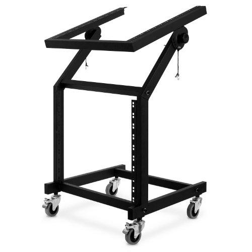 auna soporte rack (48 cm, 21 U, cuatro ruedas de goma suave con giro de 360°, inclinable entre +45° y -135°, portátil, 9,5 kg, 50 kg de capacidad de carga máxima)