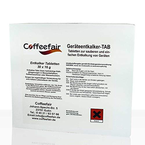 Coffeefair Spezial-Kalklösetabletten 30 x 16g | Spezial-Entkalkungstabs