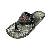 AASh Acupressure Magnetic Massage Slippers Sandals Shoes Reflexology Foot Massager Acupoint Massage Sizes UK 3 to UK 10 (8 UK, Black/Grey)