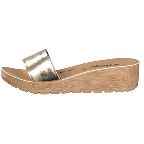 Brandsseller Damen Pantolette Sandale Schuhe Flach - Uni Metallic - Farbe: Gold - Größe: 37 Lpzr31