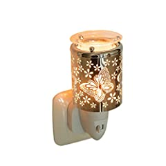 Idea Regalo - Pajoma 44529, Diffusore di essenze con Luce Notturna, Motivo: Farfalle, Argento (Silber)