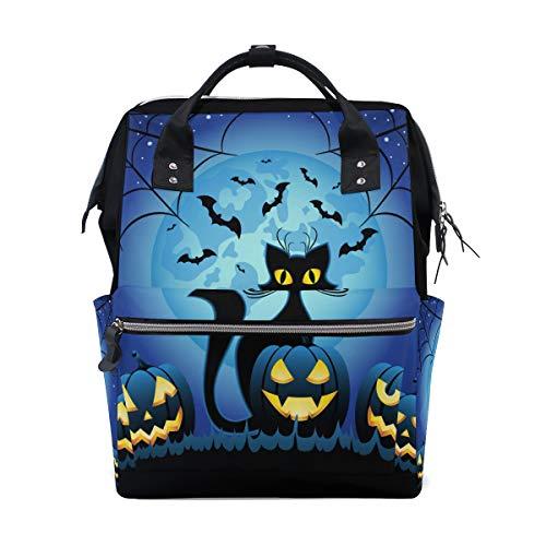 Halloween böse katze mit kürbis große kapazität windel taschen mummy rucksack multi funktionen windel pflege tasche tote handtasche für kinder baby care reise tägliche frauen