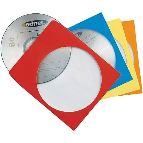 Ednet - Fundas de papel con ventana transparente para CD/DVD (varios colores: rojo, azul, amarillo y naranja, 100