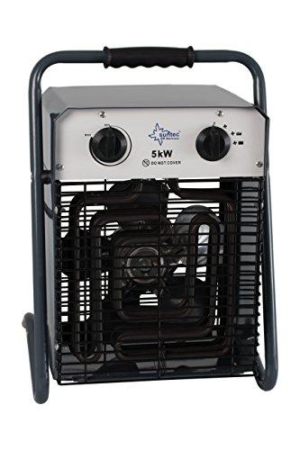 SUNTEC Industrie-Heizlüfter Heat Cannon 5000 [Zum Beheizen von Baustellen/Terrasse/Garten, etc., 3 Heizstufen, regulierbare Temperatur 0-40°C, Starkstromstecker, max. 5000 Watt]