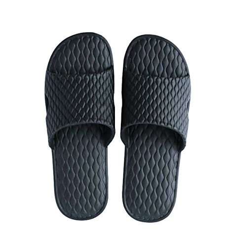 Slip on pantofole uomini e donne doccia antiscivolo pantofole pool, scarpe da spiaggia unisex sandali da bagno (eu 43-44, nero)
