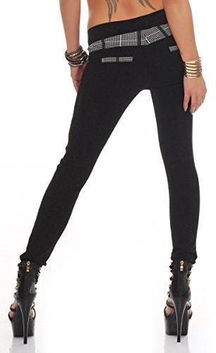 10915 Fashion4Young Damen Hautenge Treggings Leggings Hose pants Stretch-Stoff Damenhose Karo-Pepita schwarz-weiss