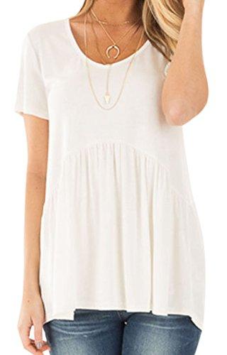 erdbeerloft Damen Oversize Babydoll Shirt mit VAusschnitt, XSL, Viele Farben  Weiß