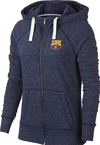 Nike Damen FC Barcelona Gym Vintage Hoodie Mit Durchgehendem Reißverschluss, Obsidian/Sail/Noble Red, L