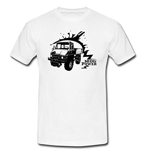 T-Shirt Unimog 406 Motiv Landmaschine Traktor Schlepper weiß/schwarz Gr. S-2XL Weiß
