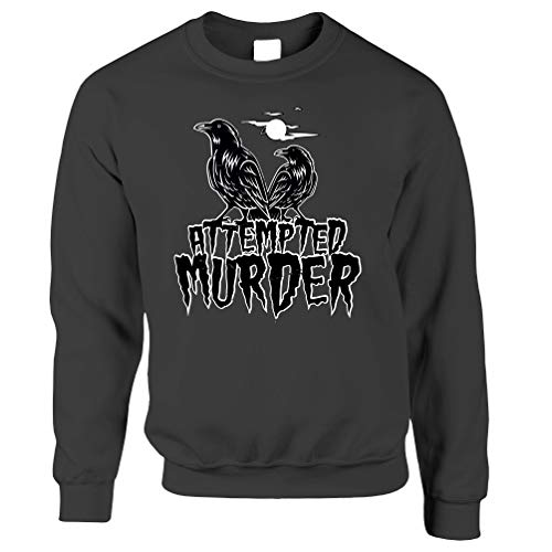 Tim And Ted Halloween Unisex-Pullover Mordversuch Crow Pun Dark Grey Small