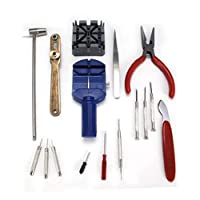 AIBULO Improved Watch Repair Tool Kit Band Pin Strap Link Remover Back Opener 16 pcs
