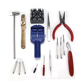 AIBULO Uhrenreparatur-Werkzeug-Set für Armbandstifte, Gliederentferner, Rückenöffner, 16 Stück