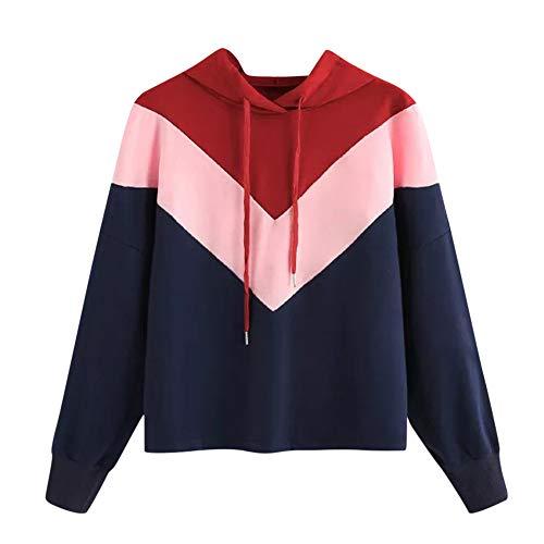 ver Damen Herbst Winter Kapuzenpullover Lässige Farbe Patchwork Sweatshirt Winterpullover mit Langen Ärmeln Jacke Mantel Tops Mode 2019 ()