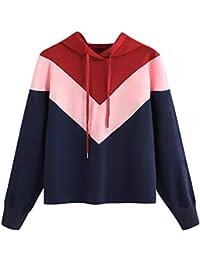 SEWORLD Damen Patchwork Sport Freizeit Beiläufig Lose Sweatshirt Herbst Mode Lässige Farbe mit Kapuze Drawstring Langarm Pullover Top Bluse