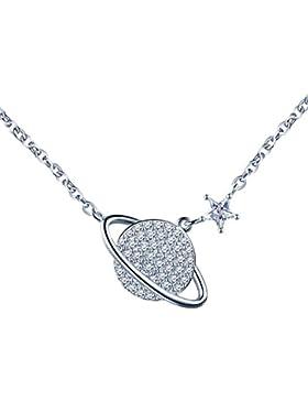Yumilok 925 Sterling Silber Zirkonia Weltraum Stern Anhänger Halskette Verstellbare Kette mit Anhänger für Damen...