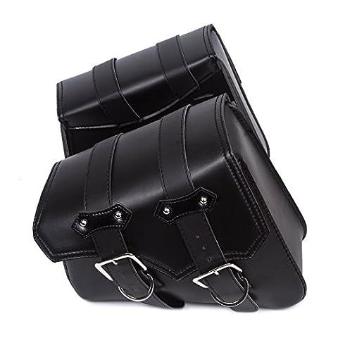 2PC, Motorrad, schwarz, dreieckig, Synthetik PU, Leder, 2-Riemen Satteltasche, Werkzeugtasche