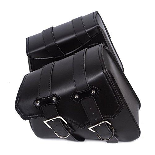SunTime Motorrad Satteltasche aus Leder und Fahrradtasche, Große Kapazität PU-Leder für Dreieckige Außentasche Universelles Taschenpaket von Lagerung für Harley Davidson ( 2PC - Schwarz )