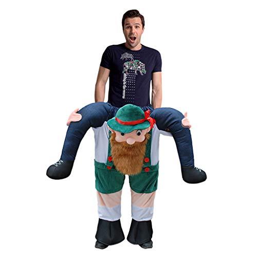 Back Kostüm Piggy - LOVEPET Bärtiger Mann Piggy Back Kostüme Lustiges Ride On Kostüm Für Erwachsene Reitschulter Kostüm Halloween Weihnachten Adult Cosplay Karnevals-Party-Ereignis Hochzeiten Maskerade Requisiten