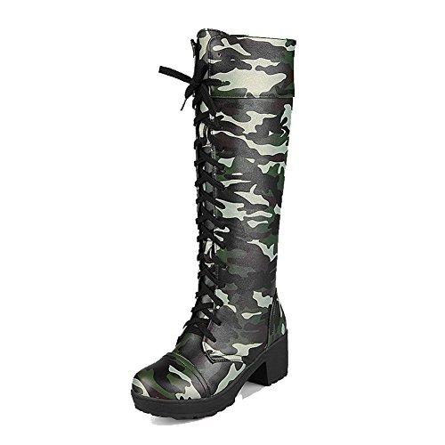 AllhqFashion Damen Rund Zehe Mittler Absatz Hoch-Spitze Gemischte Farbe Stiefel mit Knoten, Grün, 38