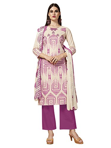 Kanchnar Off White Color Women's Cambric Cotton Embroidery Work Unstiched Dress Material-739D1002