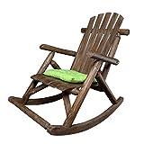 Schaukelstuhl Sessel für Garten oder Terrasse aus natürlichem Massivholz Bequem Gebogene...