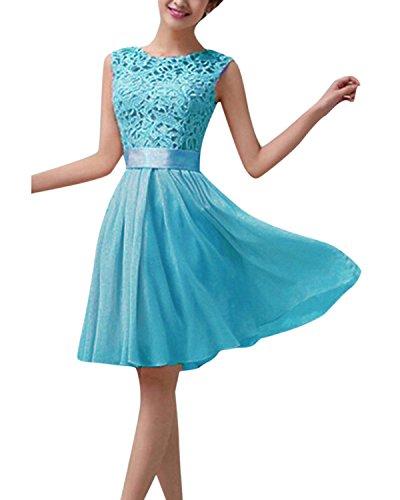 ZANZEA Mini Vestidos Corto Encaje Elegante Faldas Chiffón para Mujer sin Manga Fiesta Noche Cielo azul EU 42