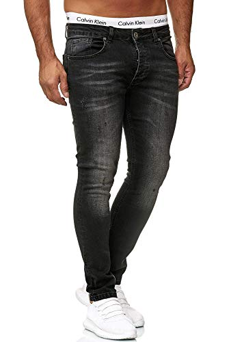 Designer-outfit (OneRedox Designer Herren Jeans Hose Regular Skinny Fit Jeanshose Basic Stretch 604 Dirty Black Used 34/32)