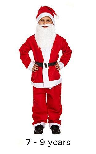 Henbrandt - Kinder Jungen 5teiliges Weihnachtsmann Kostüm Weihnachten - Größe 7-9 Jahre (Kostüm Kinder Weihnachtsmann)