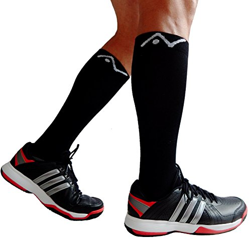 Compression-Socks-1-pair-for-Women-Men-by-A-Swift-Best-For-Running-Athletic-Sports-Crossfit-Flight-Travel-Suits-Nurses-Maternity-Pregnancy-Shin-Splints-Below-Knee-High