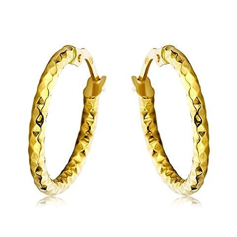 Miore Women's 18 ct Yellow Gold Diamond Cut Hoop Earrings - 1.85 cm