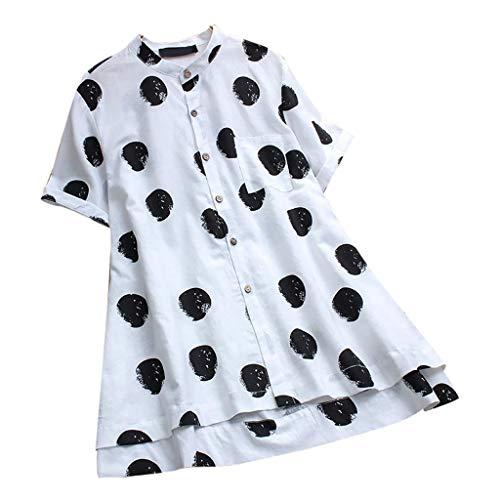 YUHUISTART Shirts Damen Elegante Übergröße V-Ausschnitt Kurzarm Aline Dress Tops Blumen Leinen Polka Dot Tasche Hemd Lang Bluse Pulli Tunika Pulli Oberteile (Weiß,EU-48/CN-4XL) (Männer-unterwäsche Animal-print)