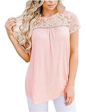 Camisetas Para Mujer, FAMILIZO Moda Mujeres Camiseta de manga corta de encaje blusa Casual Tops Camisetas
