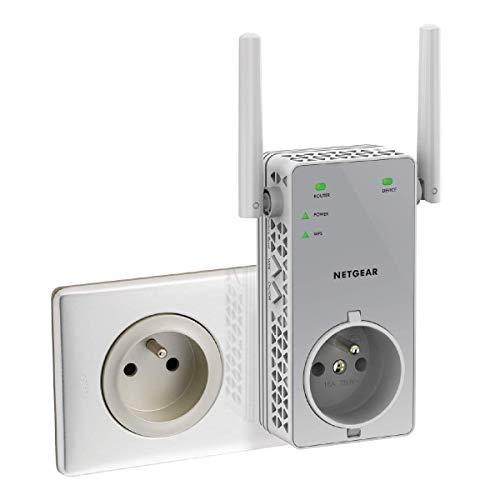 NETGEAR EX3800-100FRS  Répéteur Wifi (Amplificateur Wifi) Double Bande AC750 Mbps , Transformez les Zones Mortes en Zones Couvertes, avec Prise de Courant Intégrée