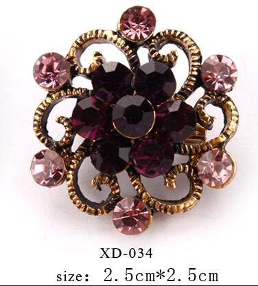 Antike vergoldete weinrote Kristallrhinestones kleine süße Reversnadel Brosche für Frauen oder Mädchen Bekleidungszubehör